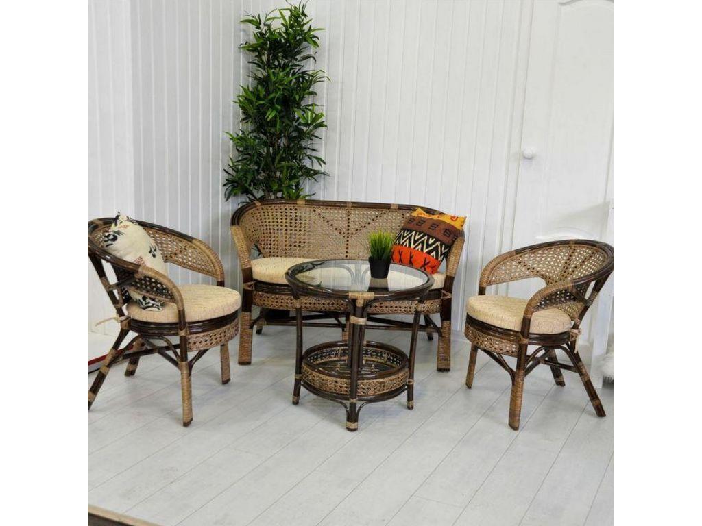 Плетеная мебель из ротанга комплект кофейный для дачи для ба.